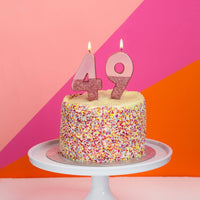 We Heart Birthdays Rose Gold Glitter Number Candle 4