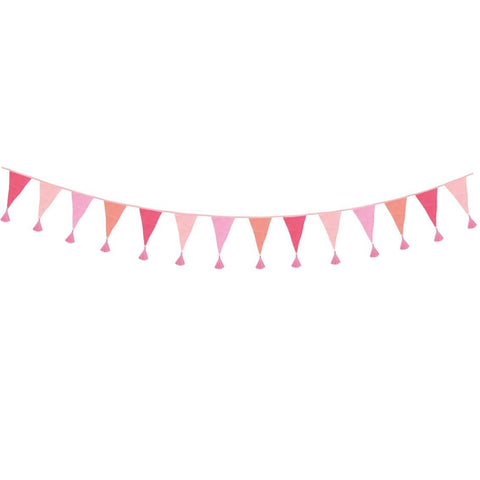 We Heart Birthdays Pink Fabric Bunting, 3m