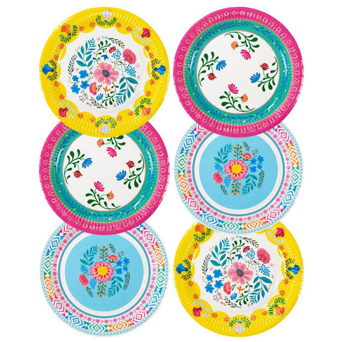 boho mix floral 9 inch round paper plates 12pk - Talking Tables