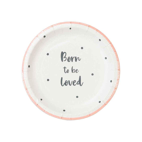 Born To Be Loved Pink Plates - Talking Tables UK Public