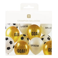 party champions 12 inch balloons 12 pack 3 designs - Talking Tables