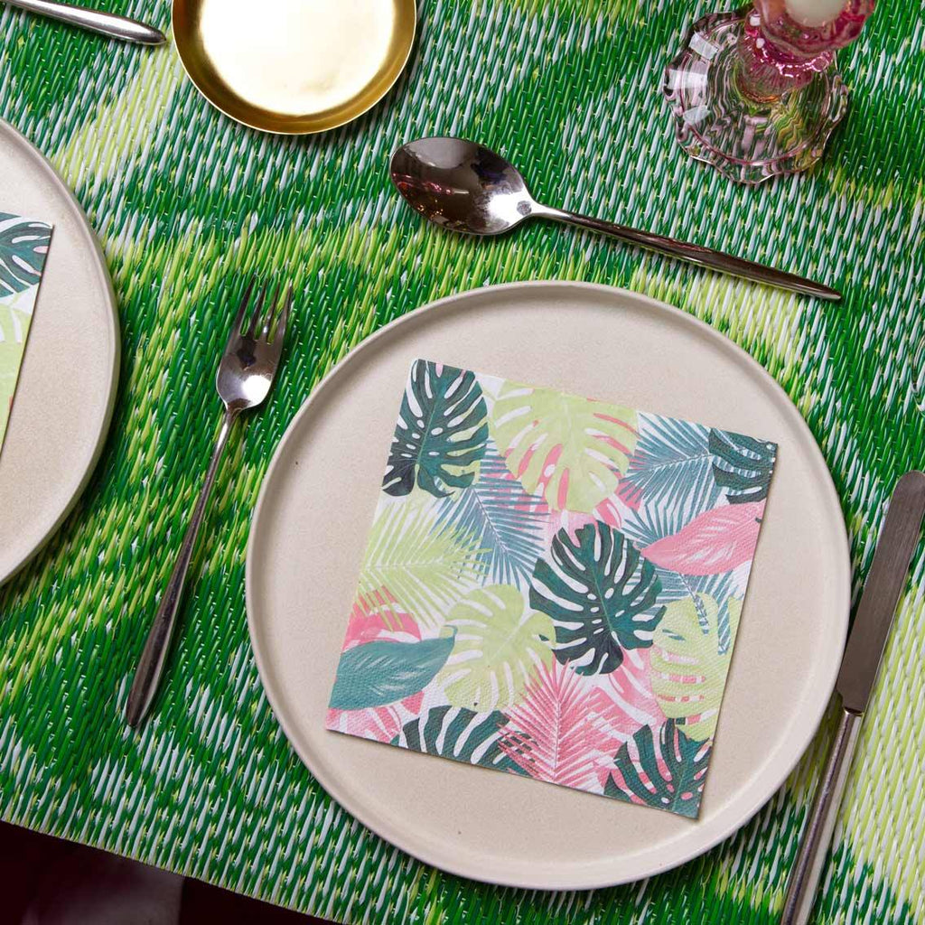 Tropical Palm Pastel Leaf Napkins