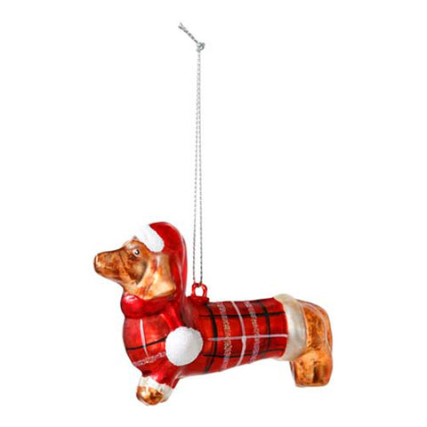 sausage dog glass tree decoration - Talking Tables