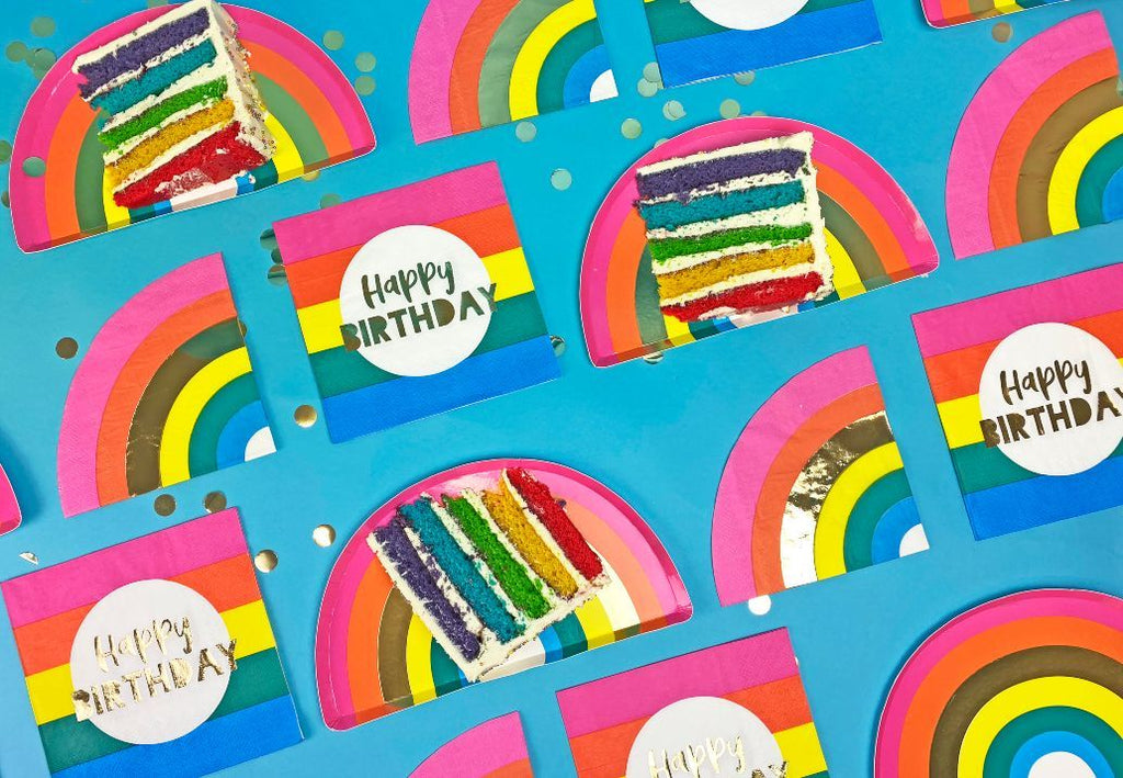 birthday brights rainbow shaped plates - Talking Tables