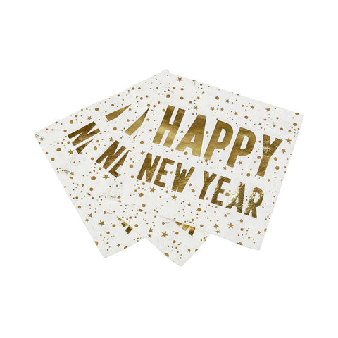 luxe happy new year napkin 25cm 16pk - Talking Tables