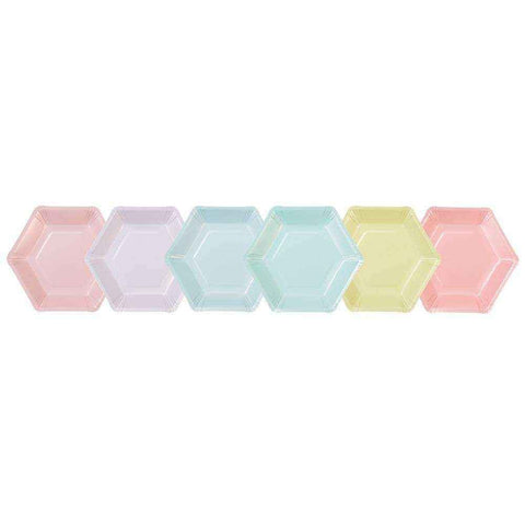 we heart pastels hexagonal plates 12 pk 6 designs 18cm diameter 1 - Talking Tables