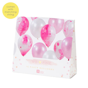 we heart pink marble ballon 12pk - Talking Tables