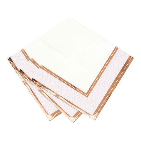 party porcelain rose gold napkin 33cm - Talking Tables