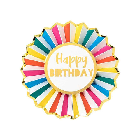 Rainbow Brights Happy Birthday Badge - Talking Tables UK Public