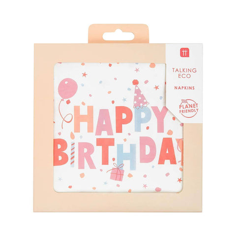 Rose Eco Happy Birthday Napkins