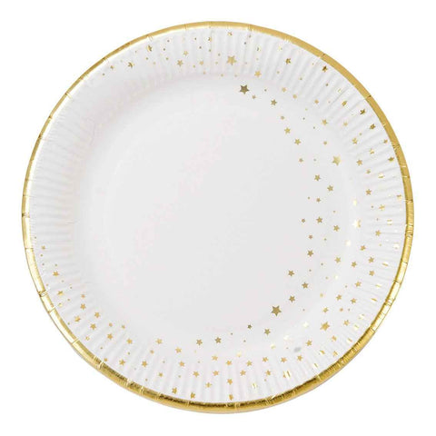 9 inch round plate with gold foil 12pk - Talking Tables