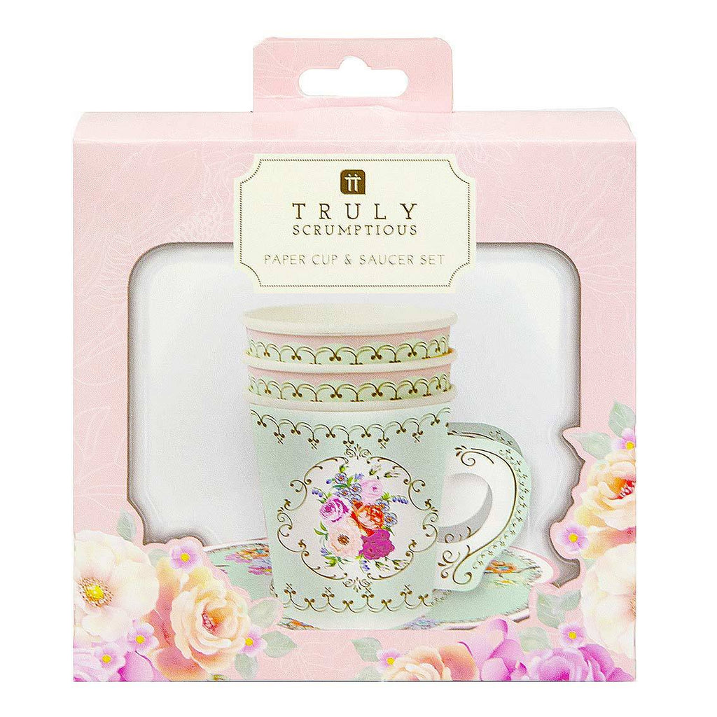 truly scrumptious12pk cup with handle saucers set - Talking Tables