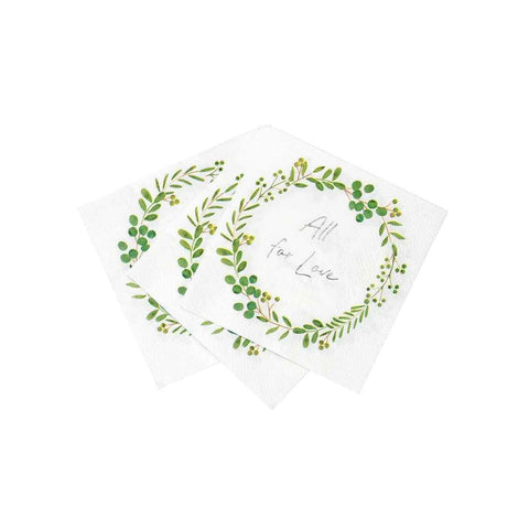 botanical bride cocktail napkins - Talking Tables