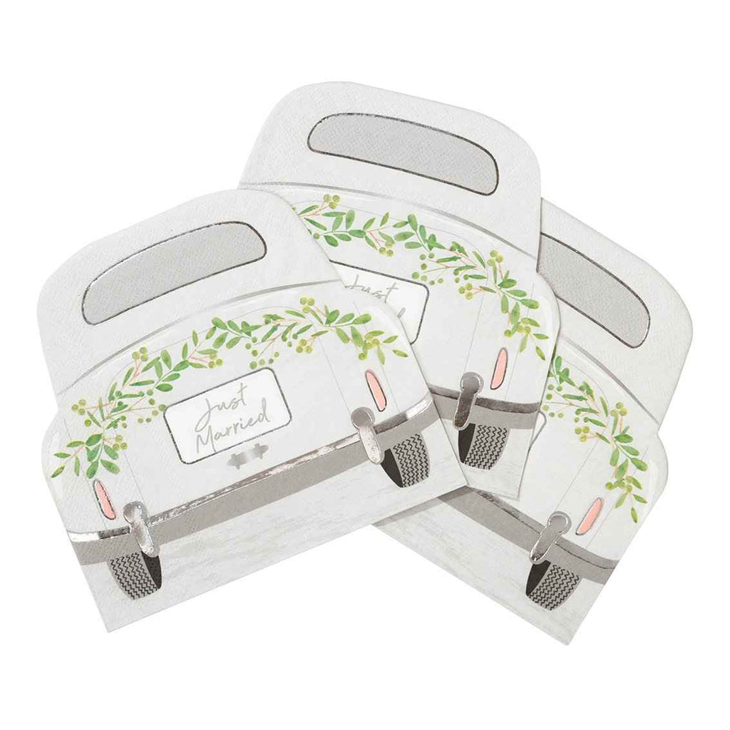 botanical bride car shaped napkins - Talking Tables