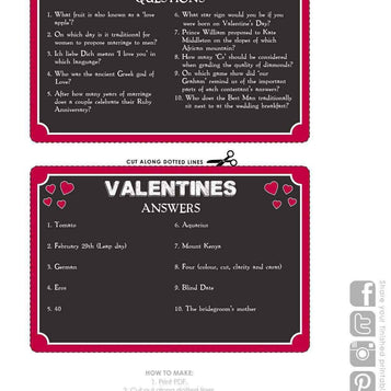 printable pub quiz valentine card - Talking Tables