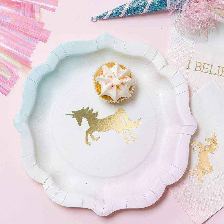 We ♥ Unicorns Pastel Paper Plates