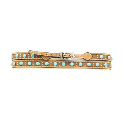 Hat Band Turquoise Stone - Distressed Medium Brown