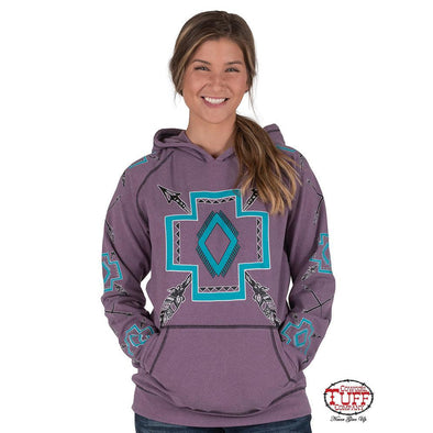 Cowgirl Tuff Purple Pullover Hooded Sweatshirt w/Raglan Sleeves and Turquoise Graphics