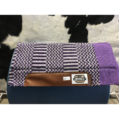 Acrylic Geometric Pattern Felt Saddle Blanket & Pocket - LT Purple
