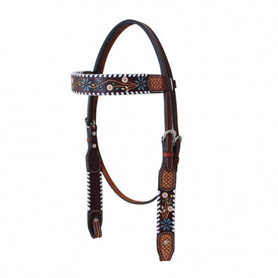 BrowBand Headstall w/Floral Tooling in TT Finish