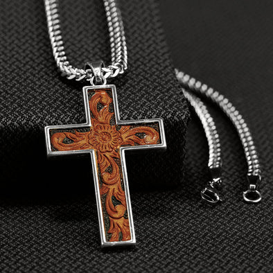 Twister Mens Necklace - Leather Scroll Cross 24""