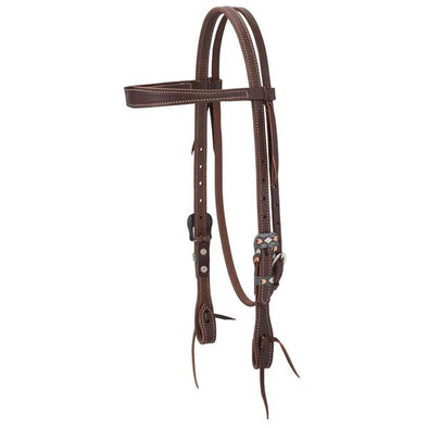 Weaver Leather Working Tack Chevron Designer Hardware Slim Browband Headstall - Canyon Rose