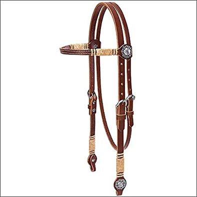 Weaver Leather Harness Leather Rawhide Accents Browband Headstall 3/4""