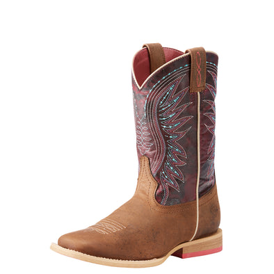 Ariat Youth Vaquera Western Boot - Weathered Brown/Sunset Purple