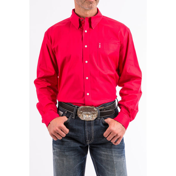 Cinch Long Sleeve Modern Fit Men's Shirt - Red
