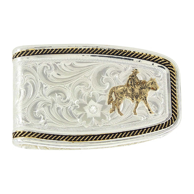 Montana Silversmiths Two Tone Softly Roped Money Clip w/Riding for the Brand