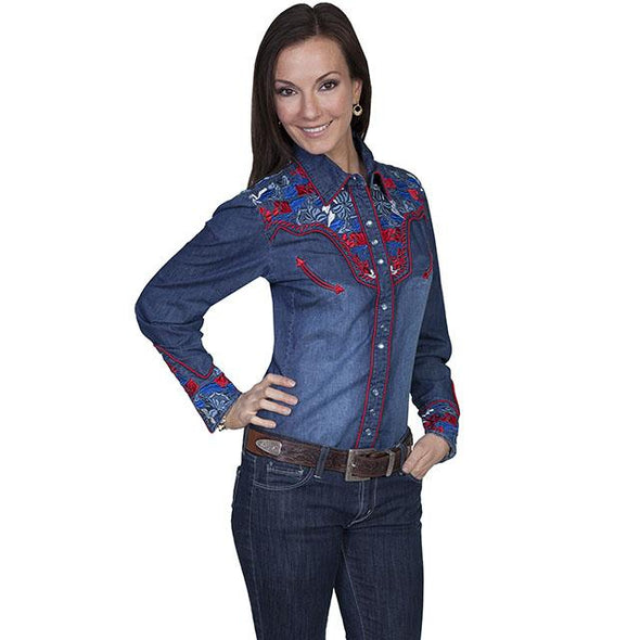 Scully Colorful Floral Tooled Emb Shirt - Denim