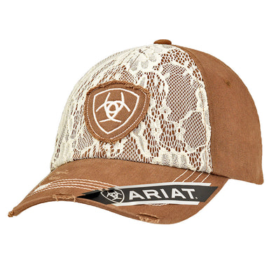 Ariat Ladies Cap Brown with Lace Overlay Shield Center Logo Velcro Back