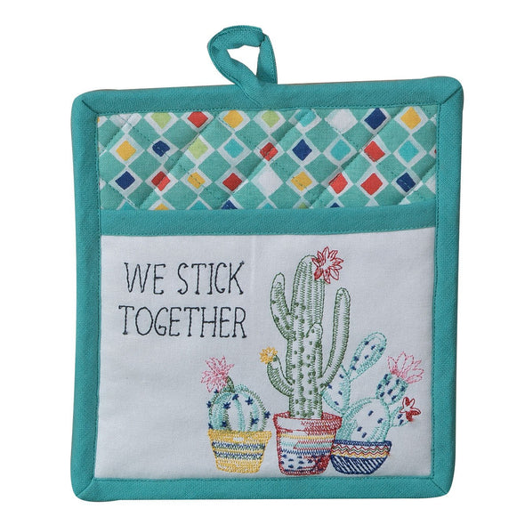 KD Cactus Garden Embroidered  Pocket Mit