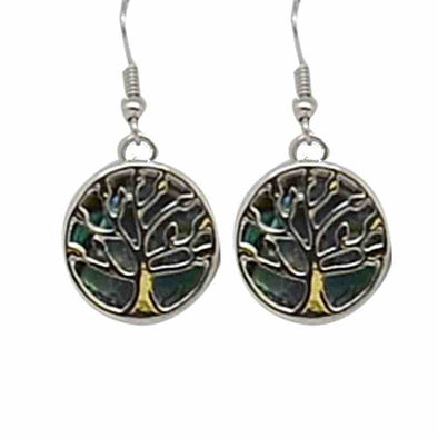 KC Earrings Abalone Tree of Life