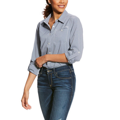 Ariat Women's VentTEK II LS Shirt Indigo Fade Check