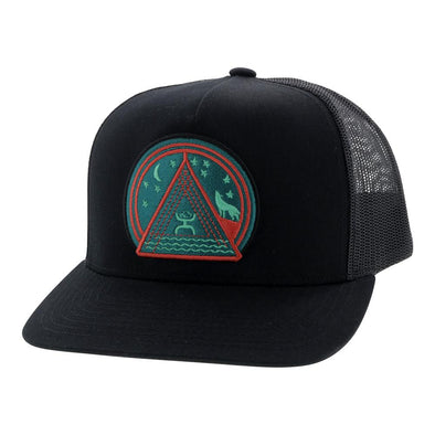 """Hooey Music""   Black 6 Panel Trucker w/Circle Patch  OSFA"