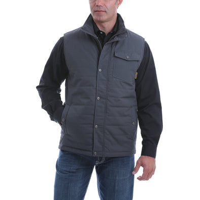 Cinch Mens Solid Quilted Vest   Charcoal