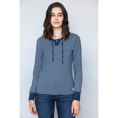 Kimes Ranch Amador Henley Ladies Top- Indigo