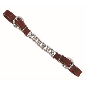 "Weaver Leather Latigo Leather 4-1/2"" Single Flat Link Chain Curb Strap - Burgundy"
