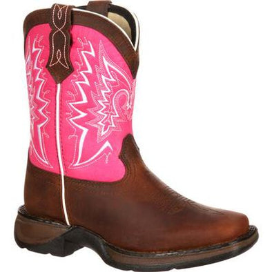 "Durango Kid Brown 8"" Western Brown and Pink Boot"