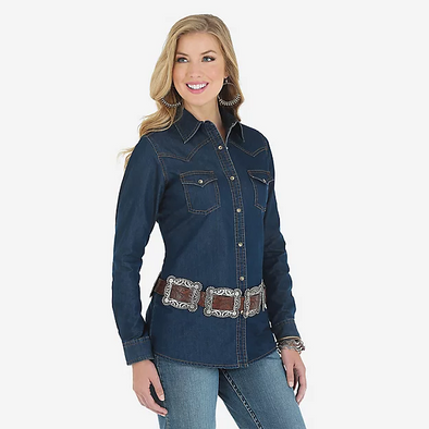 Wrangler Long Sleeve Women's Snap Denim Shirt