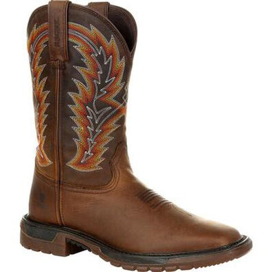 "Rocky Mens Brown 11"" Western Brown and Sunset Wheat Western Boot"
