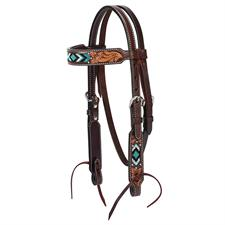 "Weaver Turquoise Cross Turquoise Beaded 5/8"" Pony Browband Headstall"
