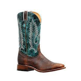 Boulet Men's Cowboy Boot - Faraon Turqueza/Bison Shrunken Old Town - Irvines Saddles