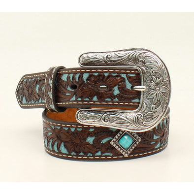 "Ariat Girls Belt 1.25"" Brown Floral"