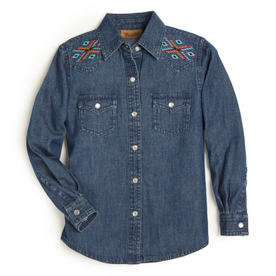 Wrangler Girls LS Western Shirt Dark Blue