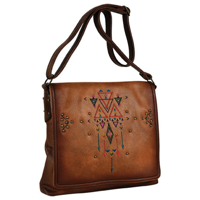 Catchfly Addison Crossbody Cognac w/Embroidery