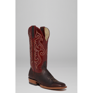 Hondo Women's Brown Oil Tan/Red Volcano Cowboy Boot