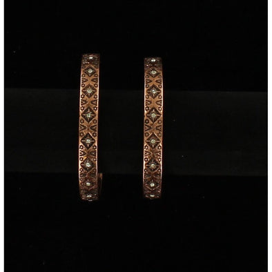 Blazin Roxx Earrings - Aztec Copper Hoops