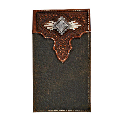 Nocona Mens Rodeo Wallet Brown with Basket Weave Top and Aztec Concho